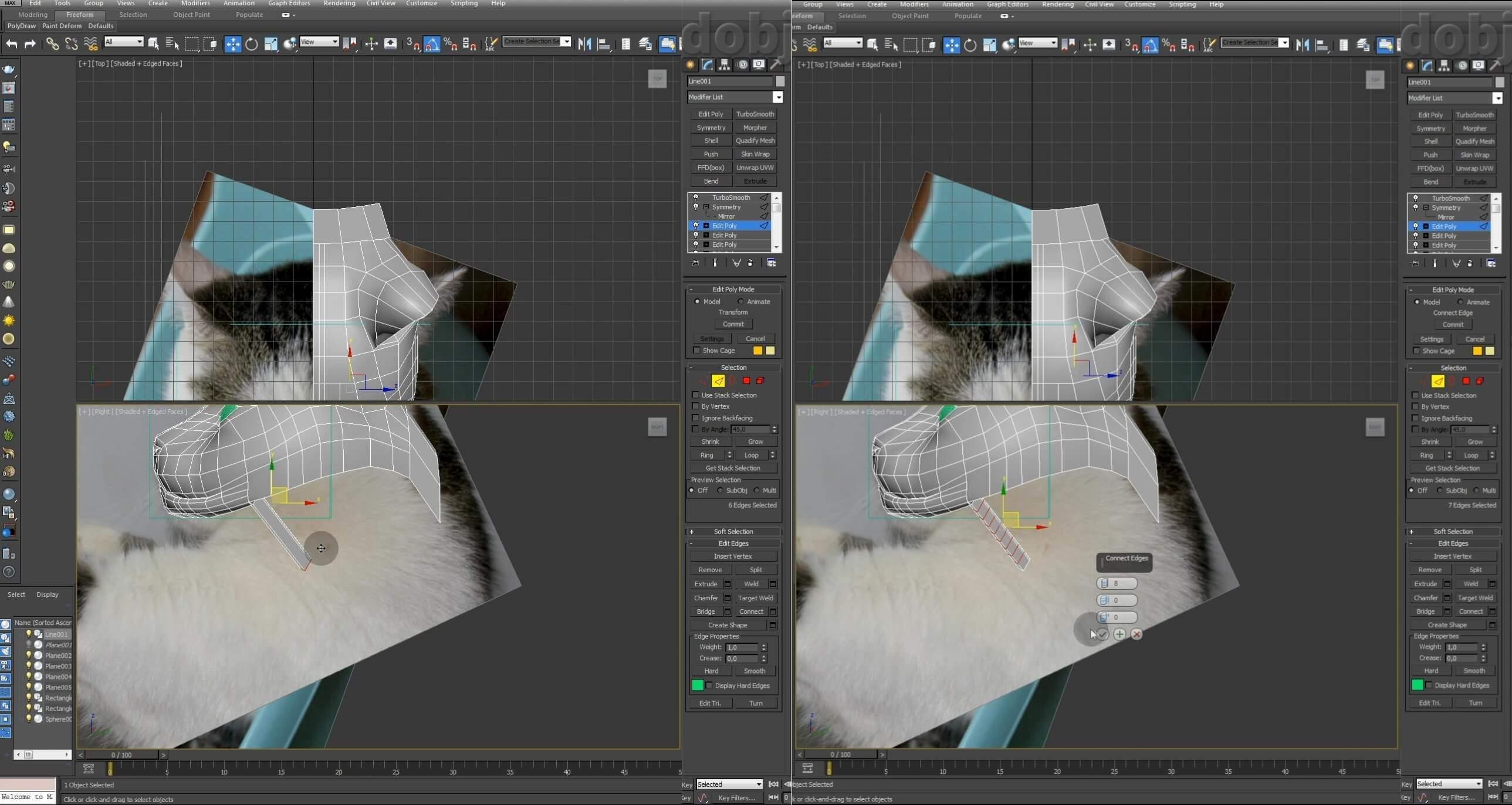 Моделирование кота в 3d max. часть 2_ 13