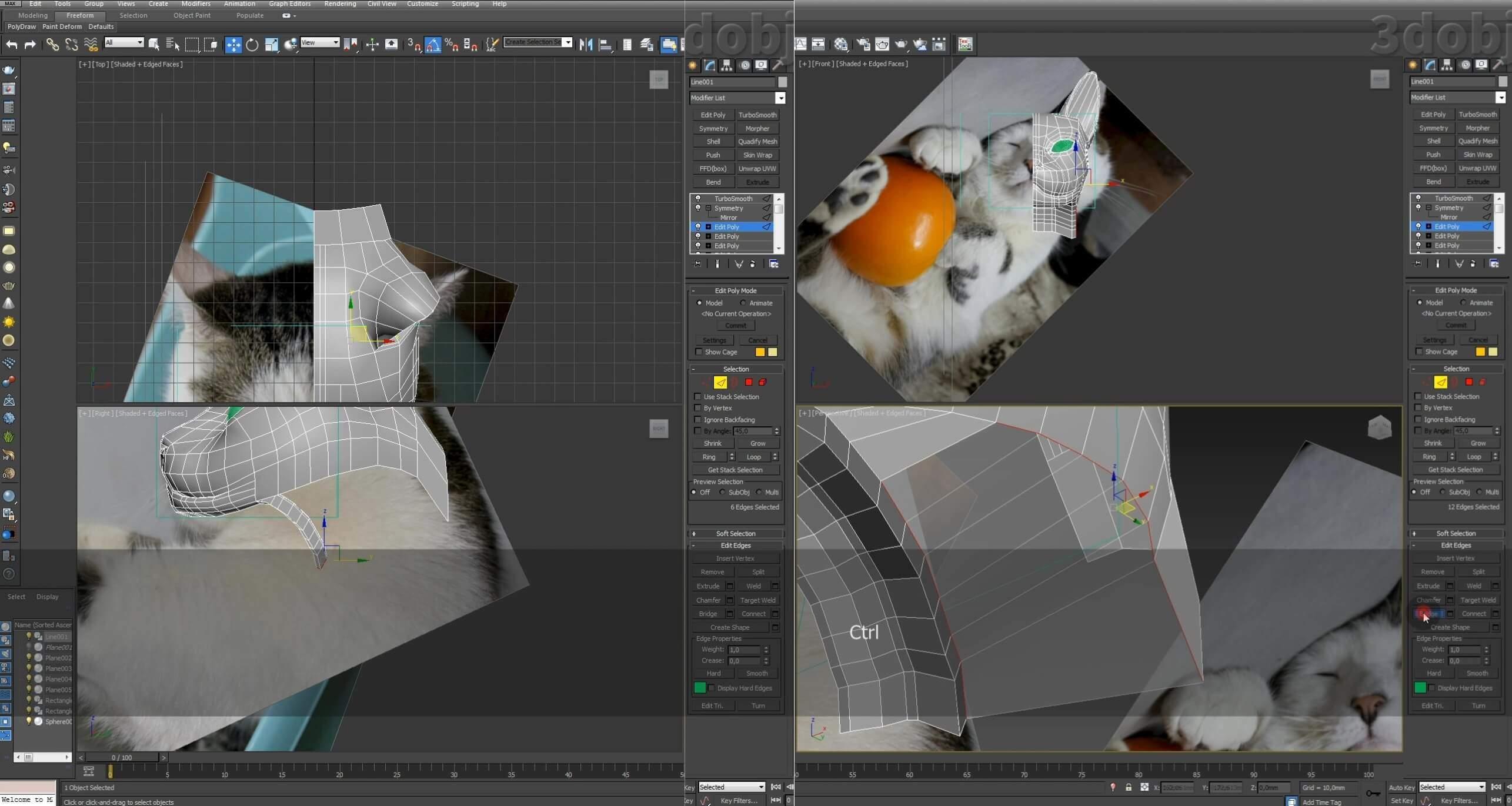 Моделирование кота в 3d max. часть 2_ 14