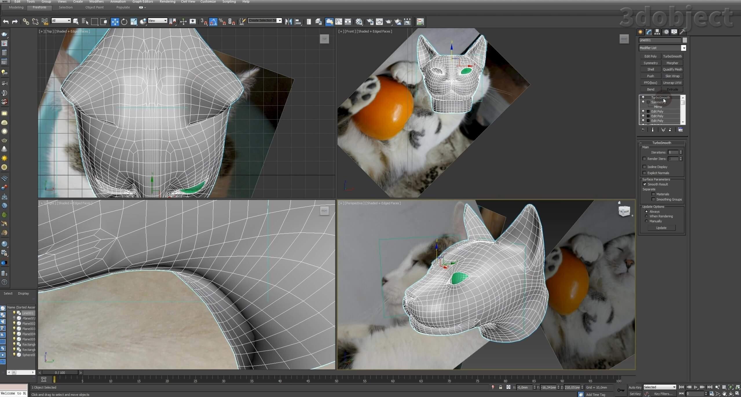 Моделирование кота в 3d max. часть 2_ 16
