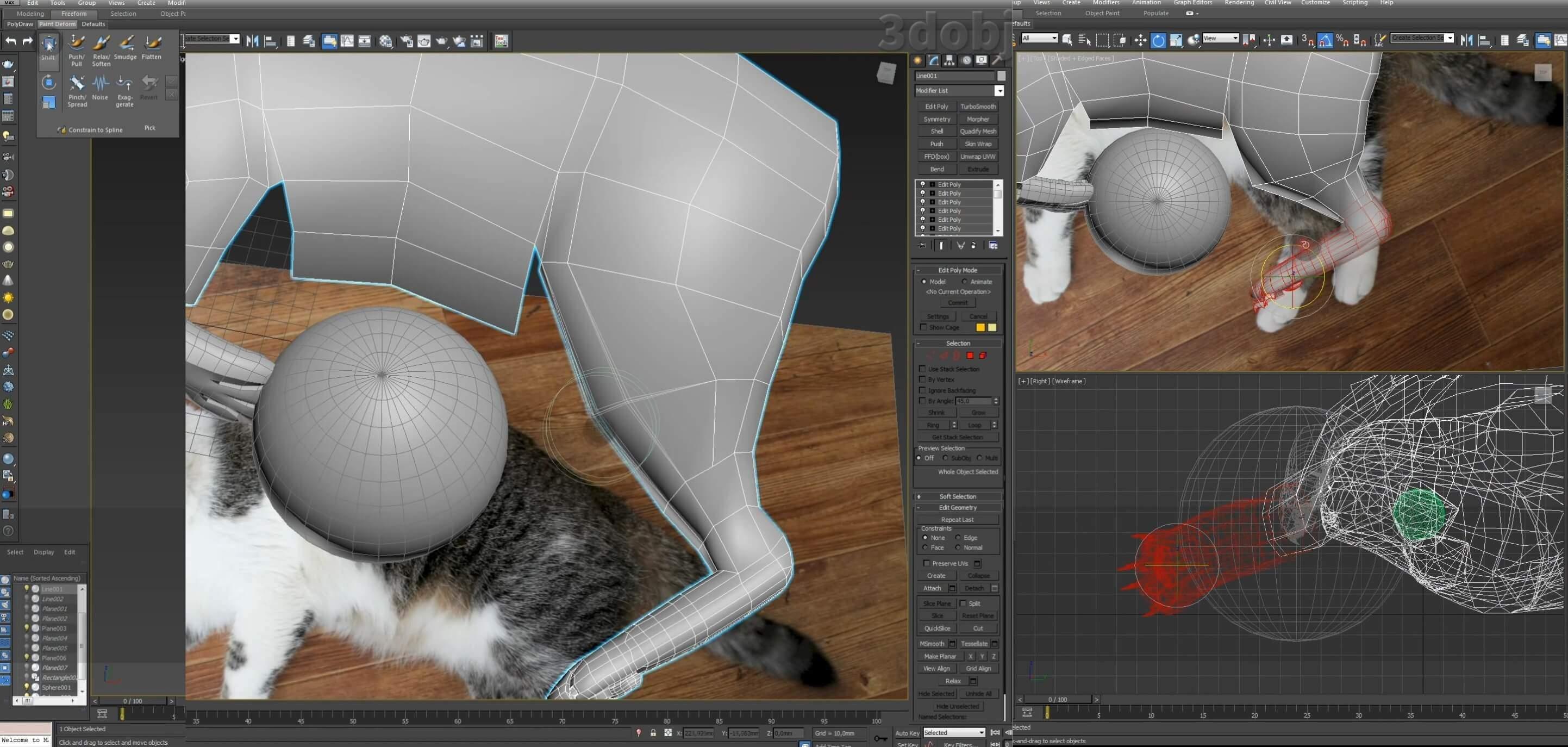 Моделирование кота в 3d max. часть 5_ 03