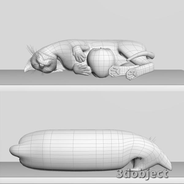 3d модель кота Винсента с хурмой_3