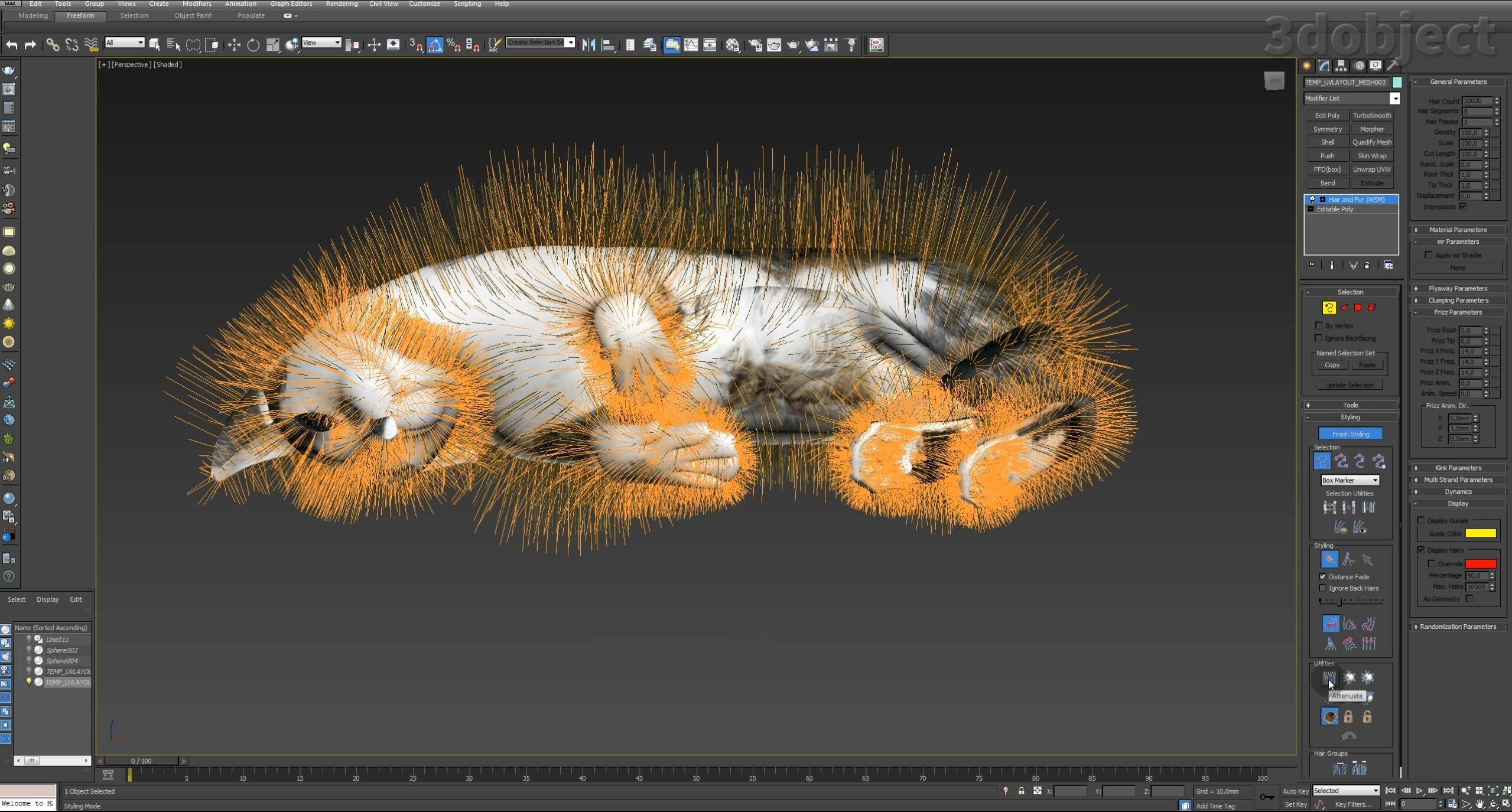 Модификатор Hair and Fur (vray), настройка модуля на примере создания кота_1