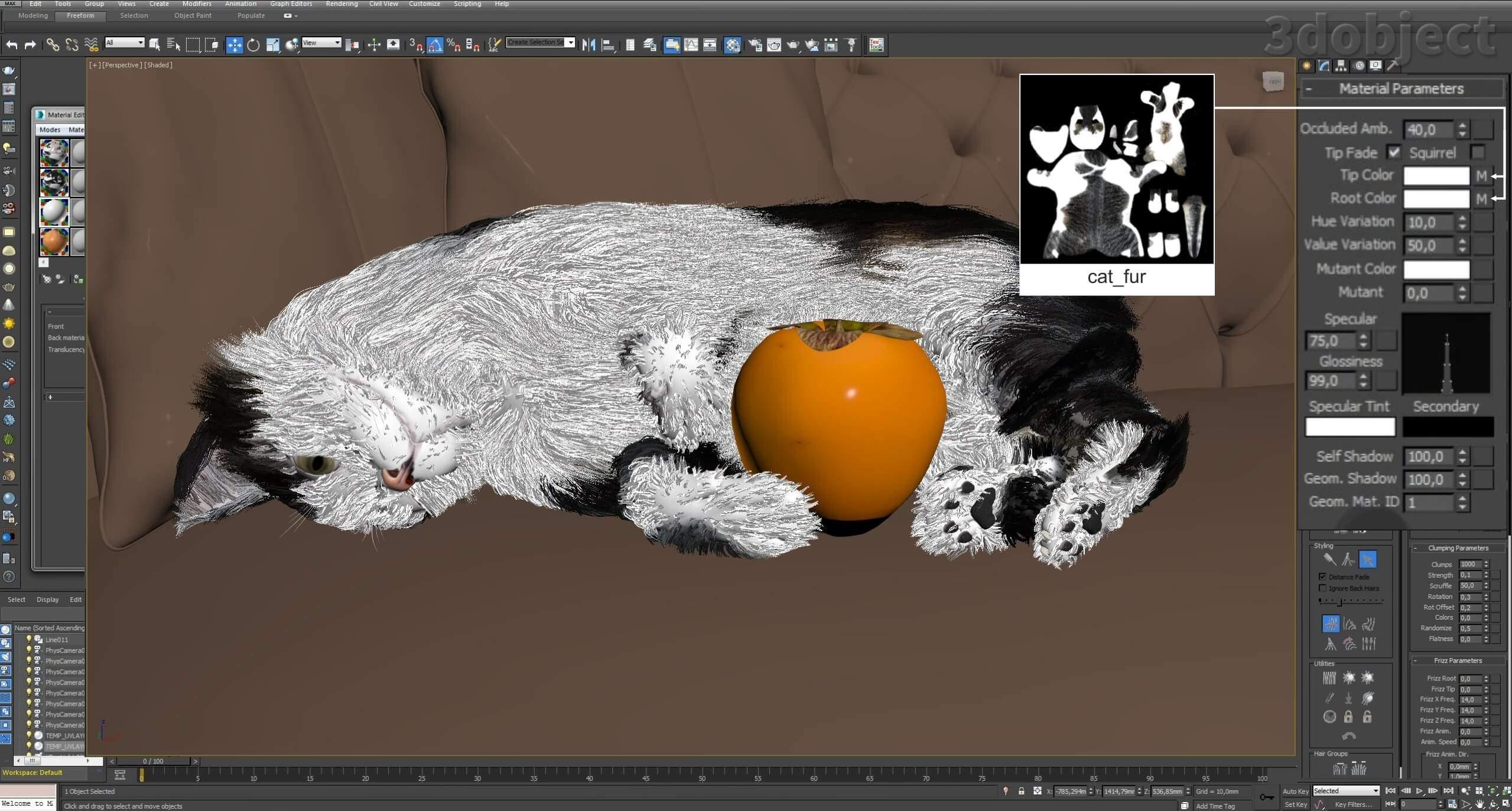 Модификатор Hair and Fur (vray), настройка модуля на примере создания кота_14