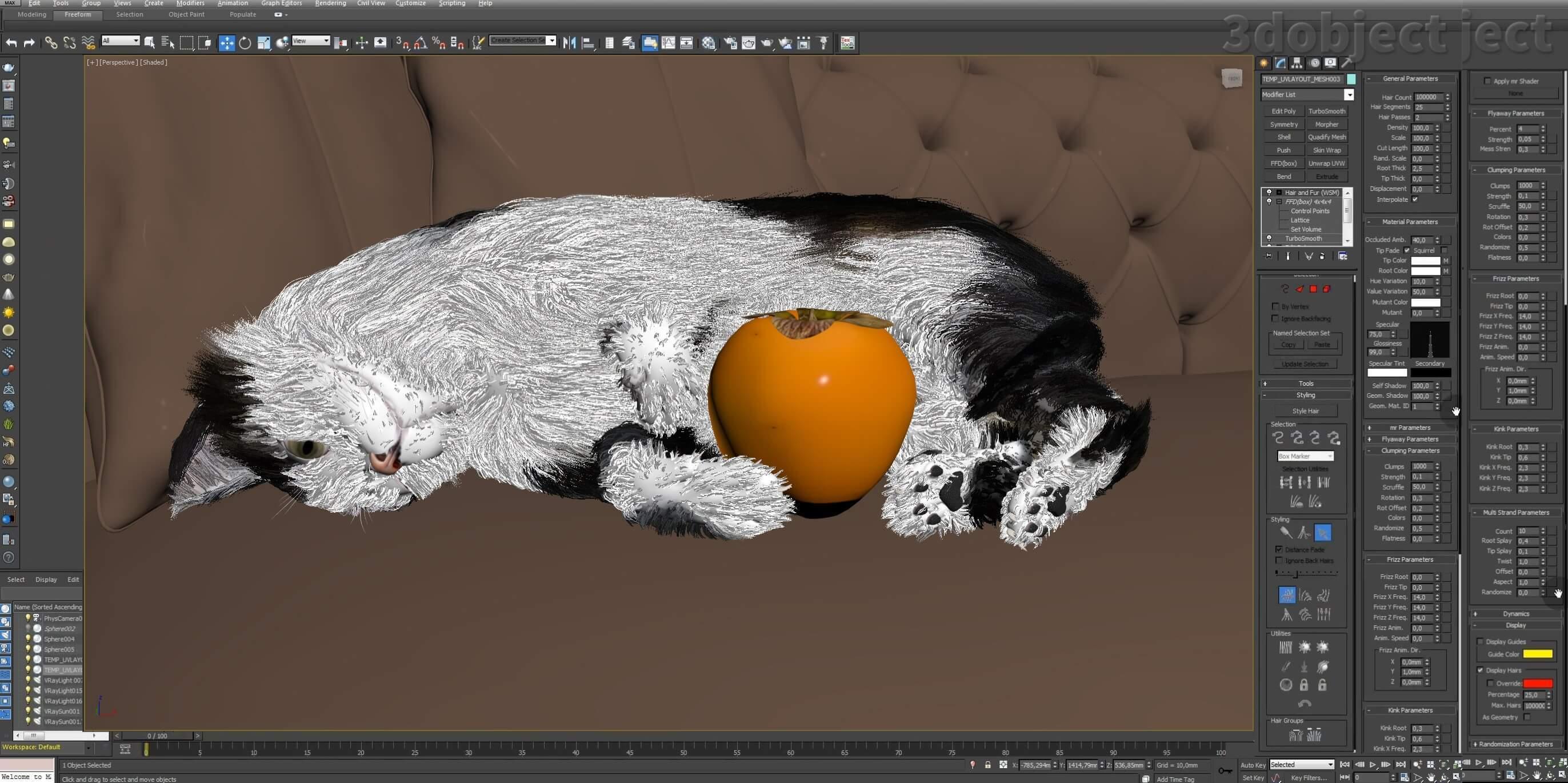 Модификатор Hair and Fur (vray), настройка модуля на примере создания кота_15