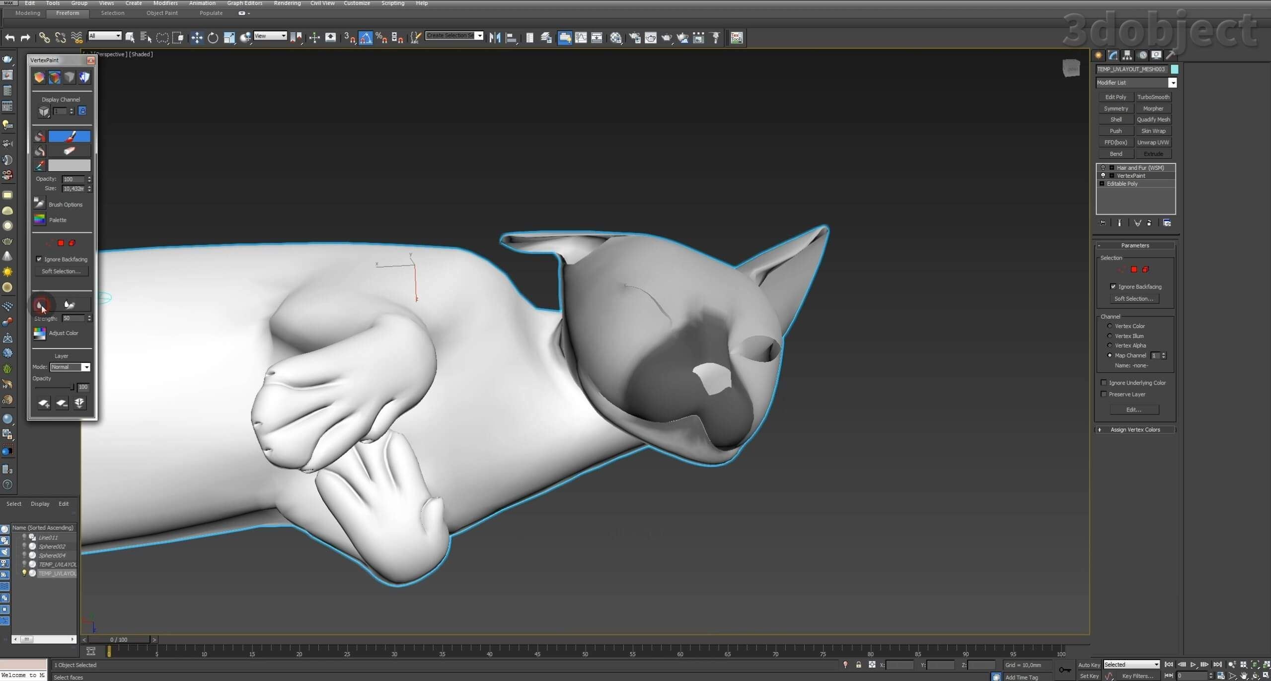 Модификатор Hair and Fur (vray), настройка модуля на примере создания кота_4