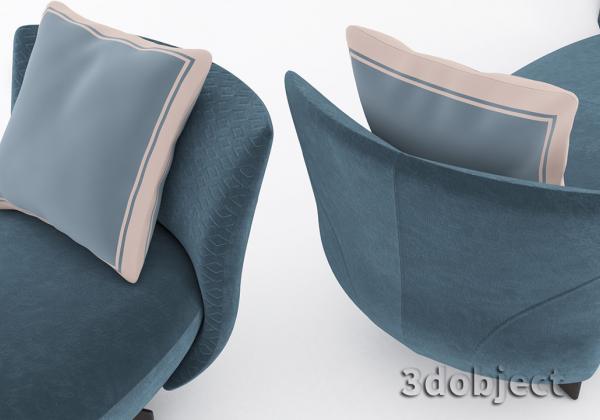 3d моделирование спинки дивана Giorgetti Galet в 3dsMax_3dobject
