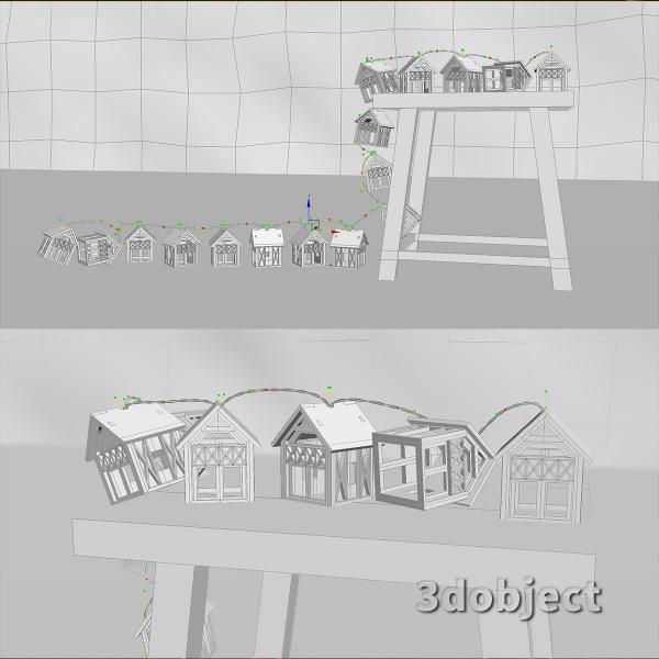 3d модель гирлянды Домики Фахверк_4