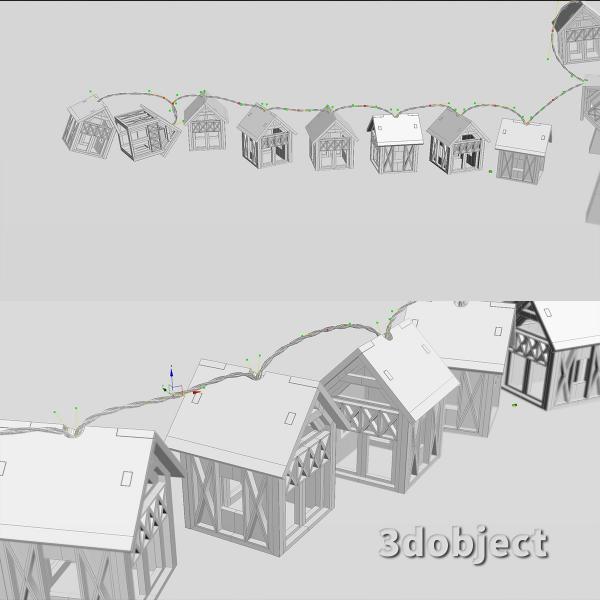 3d модель гирлянды Домики Фахверк_5