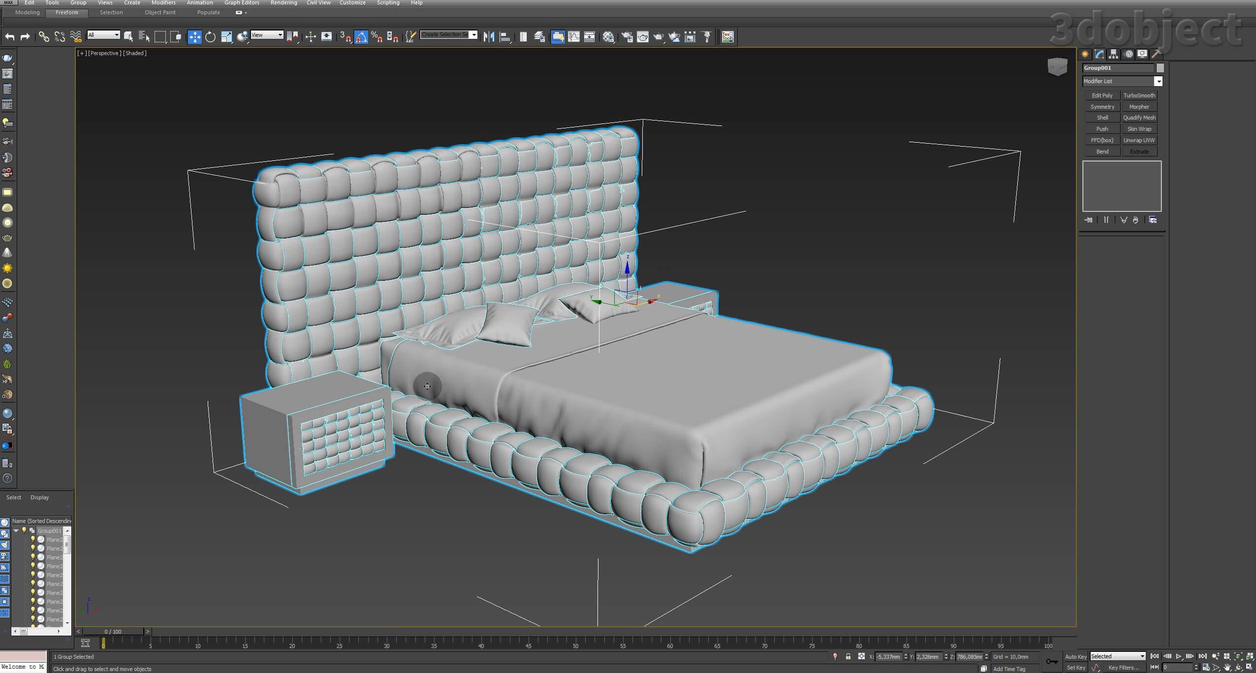 Моделирование кровати Ludovica Mascheroni Intrigo в 3d max_7