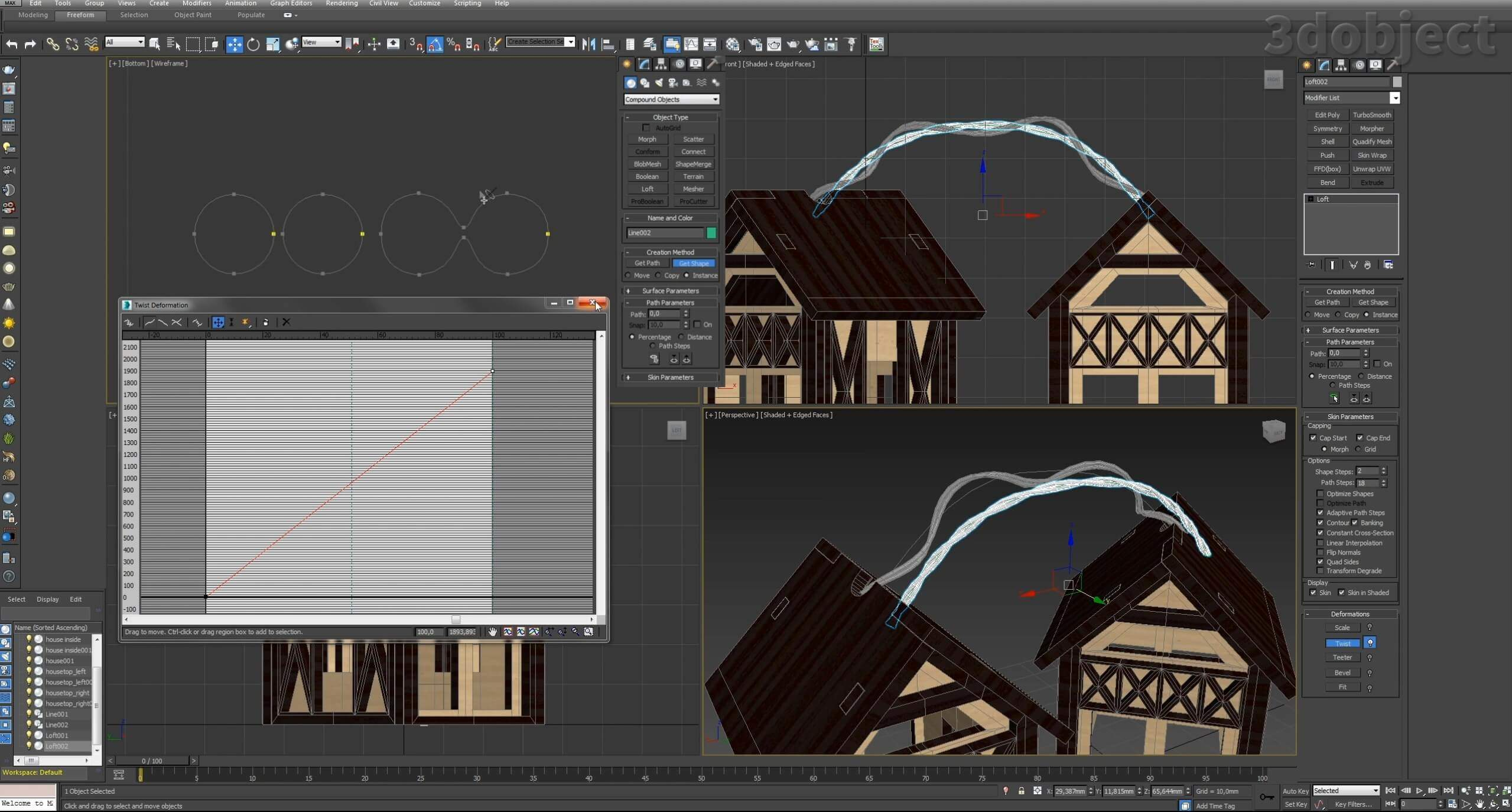 Моделирование домиков для гирлянды вы можете посмотреть в видео – Моделирование дома за 5 минут. В этом видео вы увидите, как смоделировать проводку для гирлянды из сплайнов с помощью модификатора Loft_1