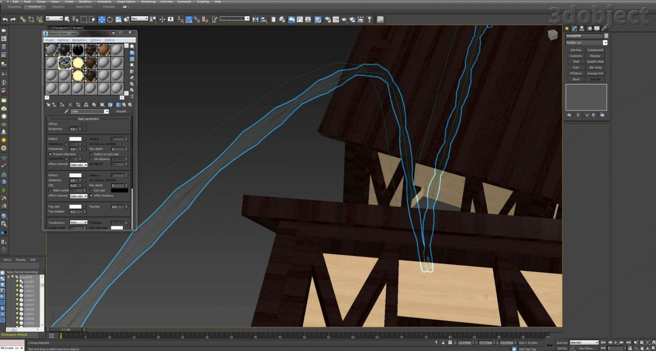 Моделирование домиков для гирлянды вы можете посмотреть в видео – Моделирование дома за 5 минут. В этом видео вы увидите, как смоделировать проводку для гирлянды из сплайнов с помощью модификатора Loft_3