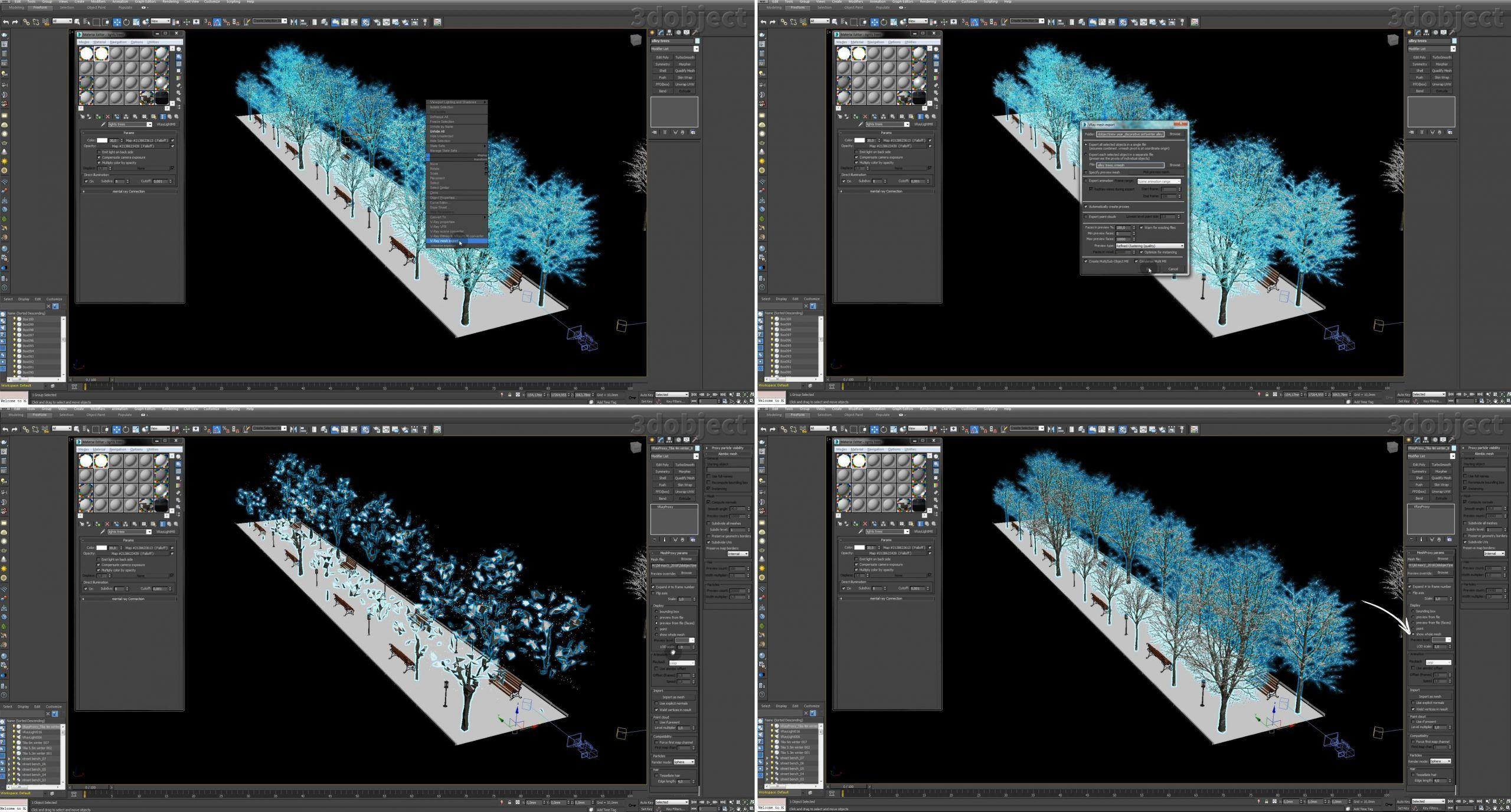 Создание зимней аллеи в 3dsMax_10