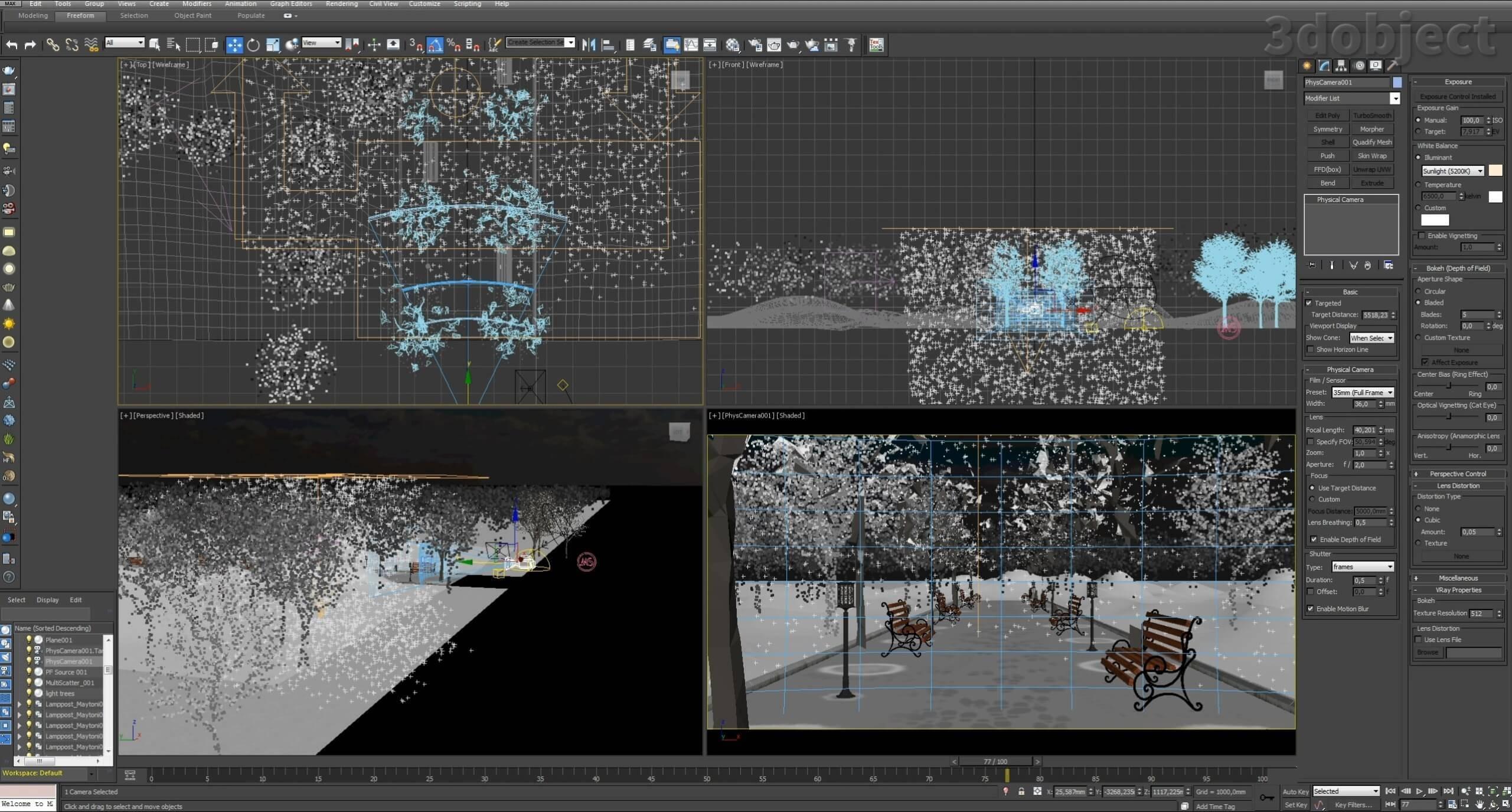 Создание зимней аллеи в 3dsMax_15