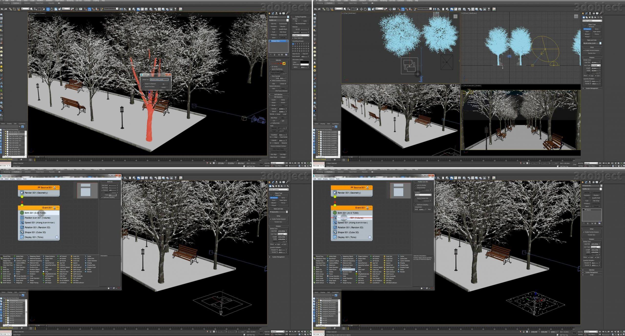 Создание зимней аллеи в 3dsMax_7