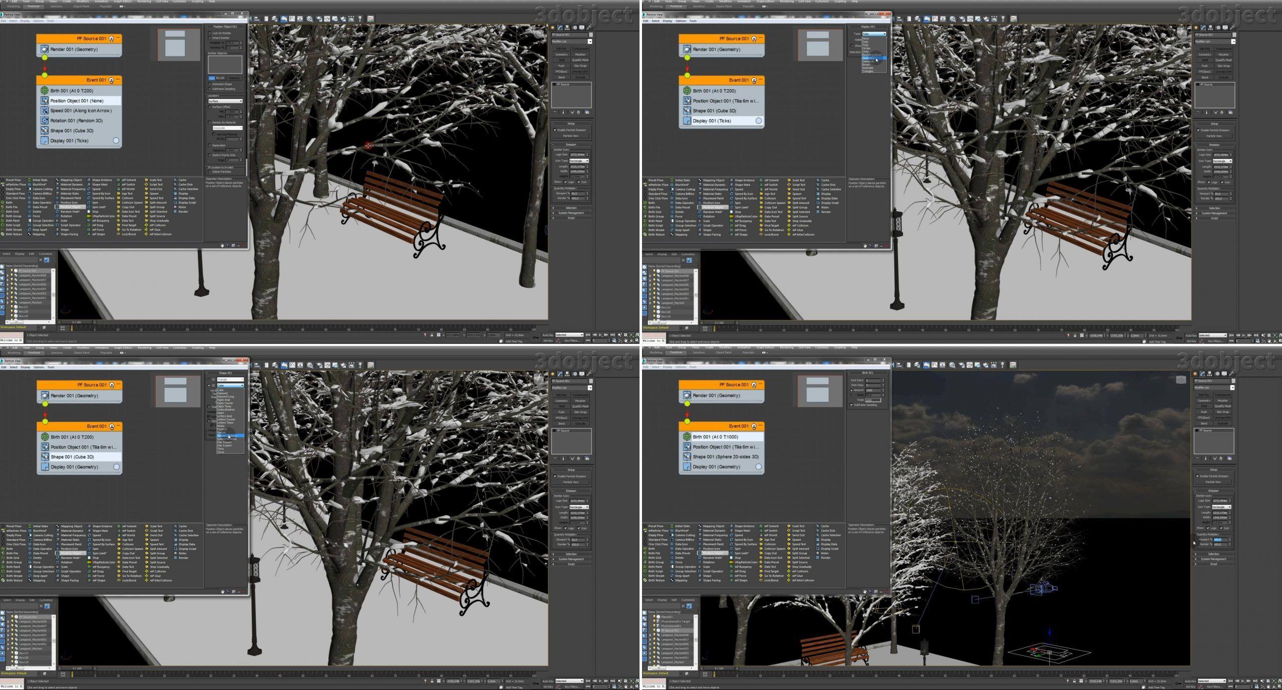 Создание зимней аллеи в 3dsMax_8