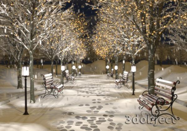 Создание зимней аллеи в 3d max