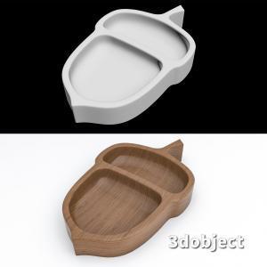 3d модель деревянной тарелки под орехи