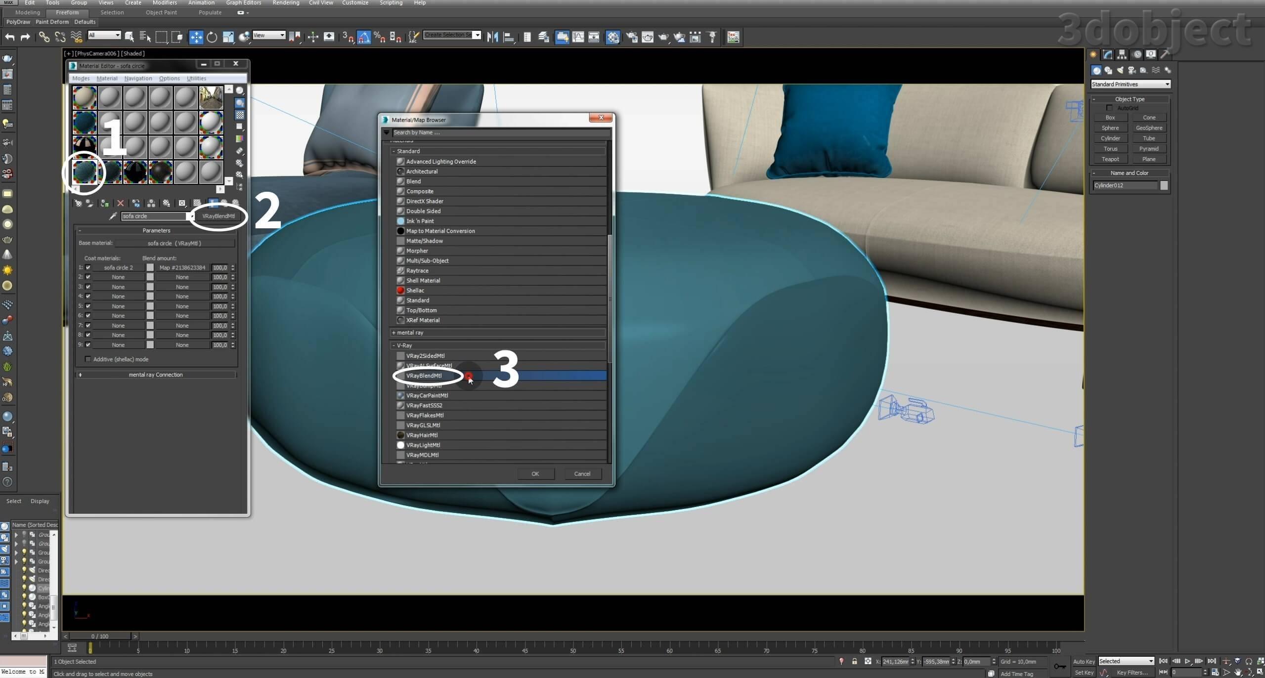 Создание vray материала. 3d визуализация. 3d max урок_1