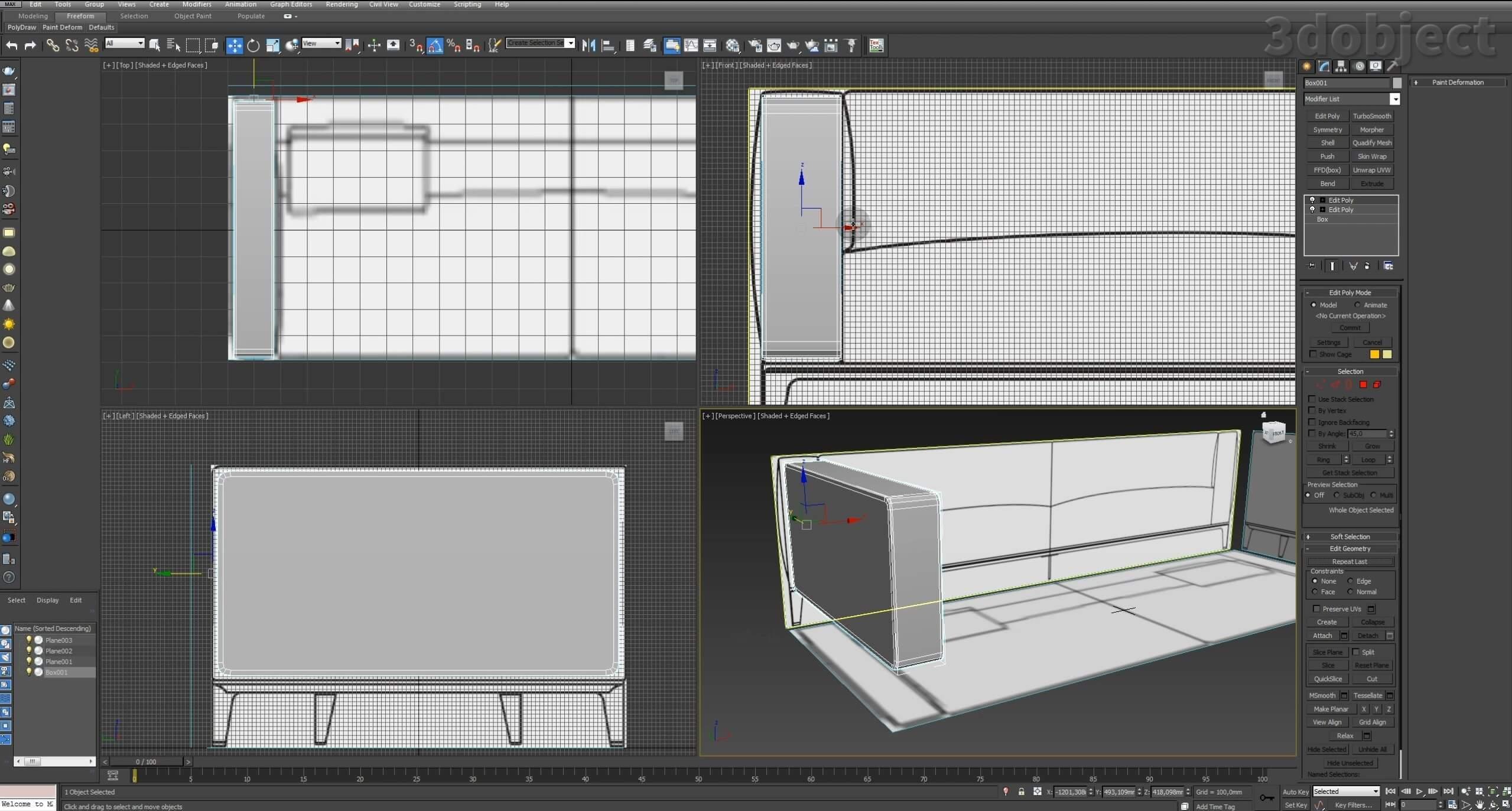 Моделирование в 3d max – урок моделирования дивана_1